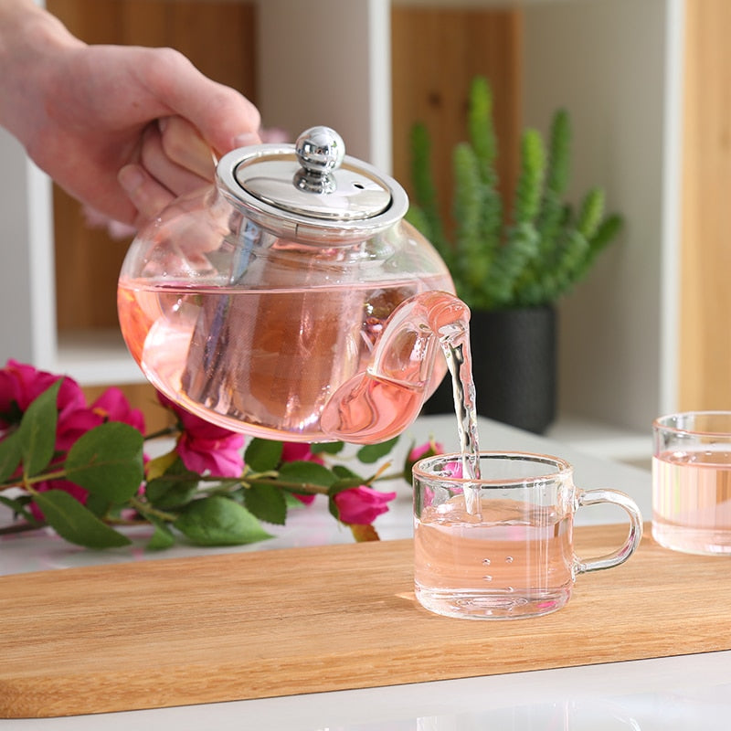 Clear Glass Teapot With Stainless Steel Infuser