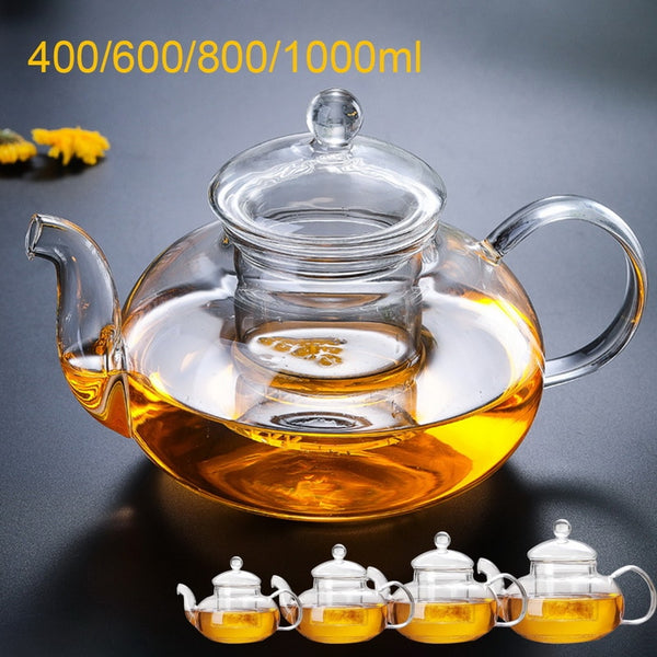 400/600/800/1000ml Heat Resistant Glass Flower Tea Pot Practical Clear Tea Kettle With Infuser