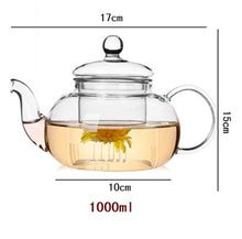 Load image into Gallery viewer, High quality Heat Resistant Glass Flower Tea Pot,Practical Bottle Flower TeaCup Glass Teapot with Infuser Tea Leaf Herbal Coffee