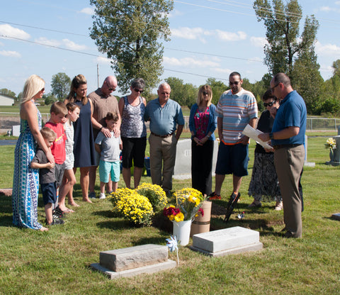 Steve Ancy's memorial service, using the Let Your Love Grow Kit to bury cremated ashes.