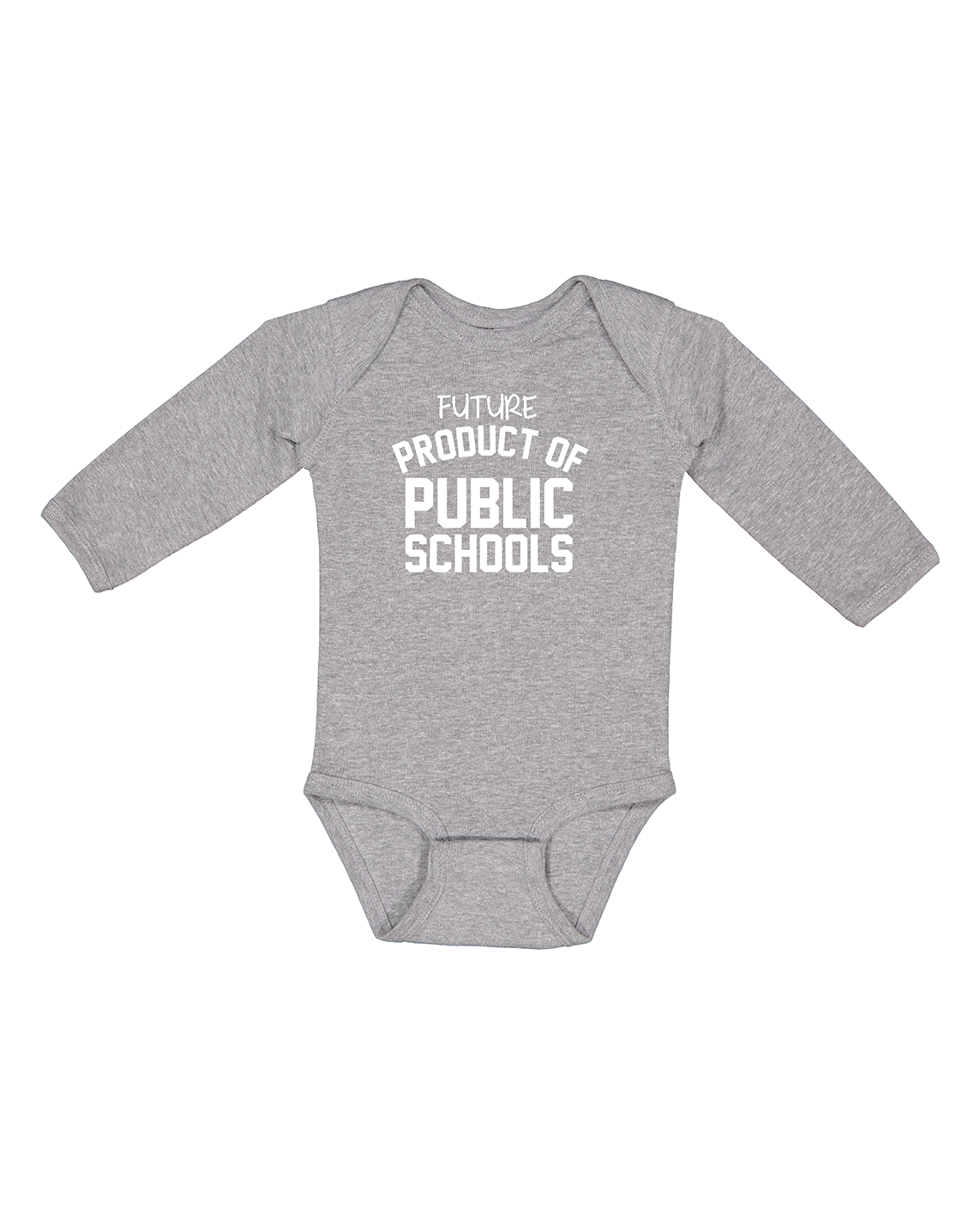 Future Product of Public Schools Long Sleeve Onesie - Grey - Originalitees