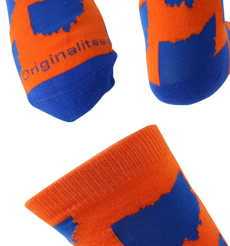 All Over OH Socks - Orange/Blue
