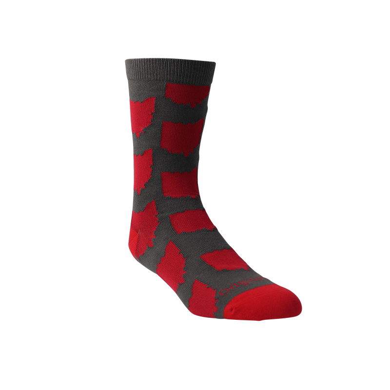 All Over OH Socks - Grey/Red - Originalitees
