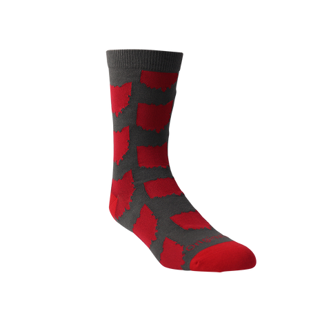 All Over OH Socks - Grey/Red