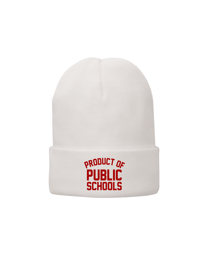 White Product of Public Schools Beanie