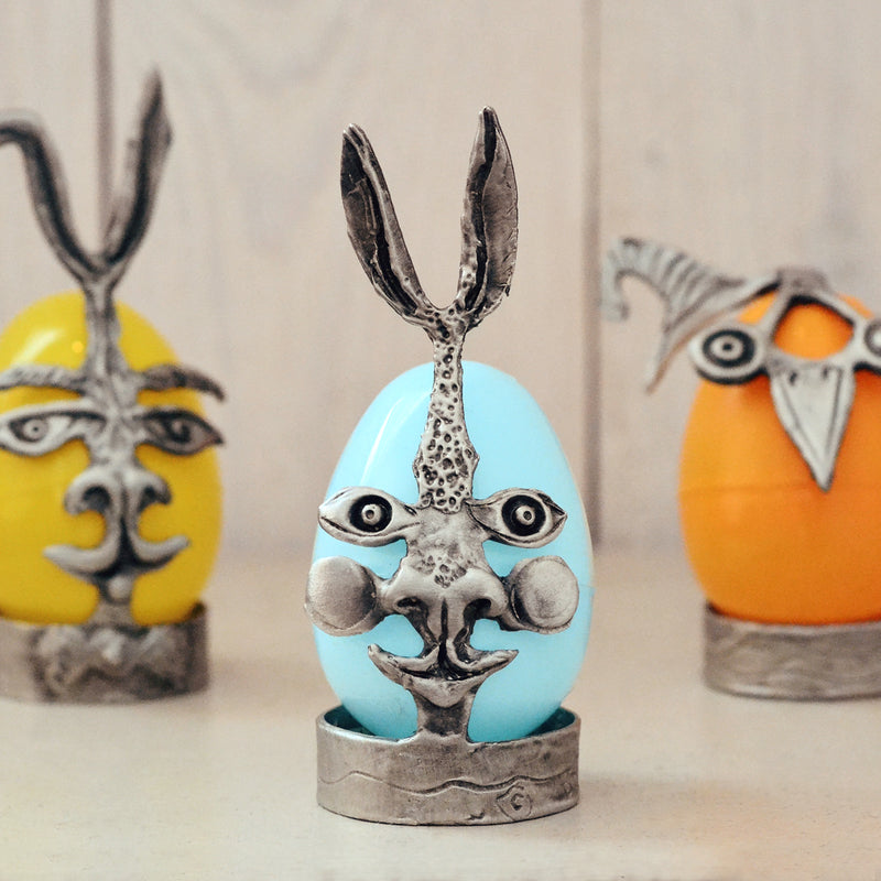 Don Drumm Pewter Easter Bunny Egg Holder