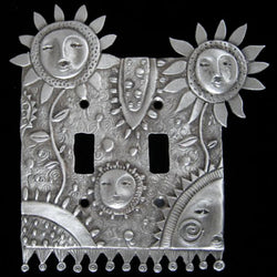 Leandra Drumm Flower Faces Double Switchplate