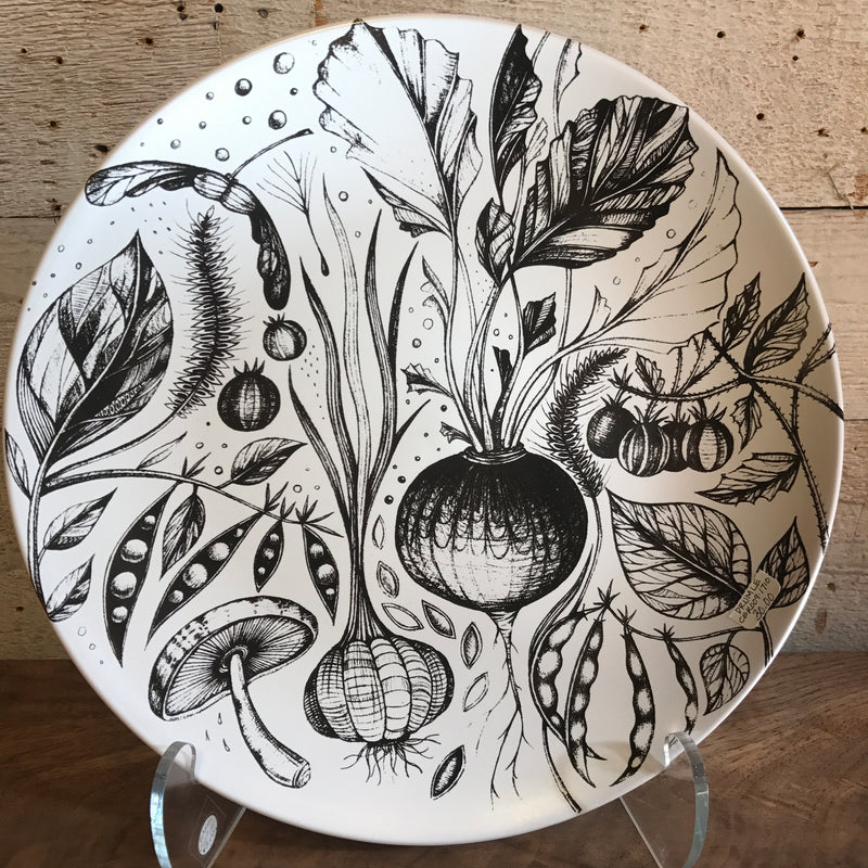 "NEW Leandra Drumm Ceramic Plate ""Vegan Feast"""