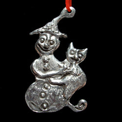 NEW! Don Drumm Snowman with Cat Ornament