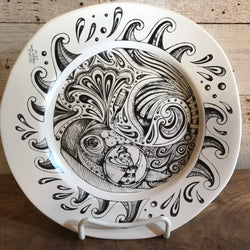 "NEW Leandra Drumm Ceramic Plate ""Having A Whale Of A Time"""