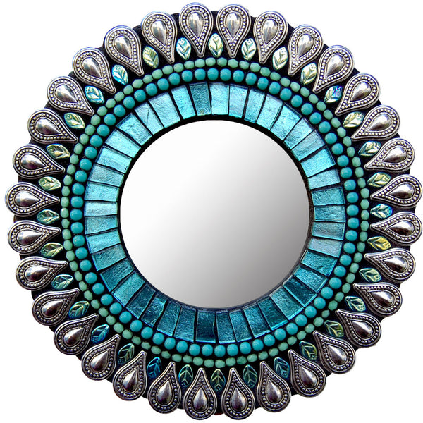 "Zetamari Mosaic Artworks 7"" Aqua Drop Mirror"
