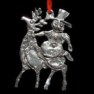 NEW! Don Drumm Snowman on Reindeer Ornament