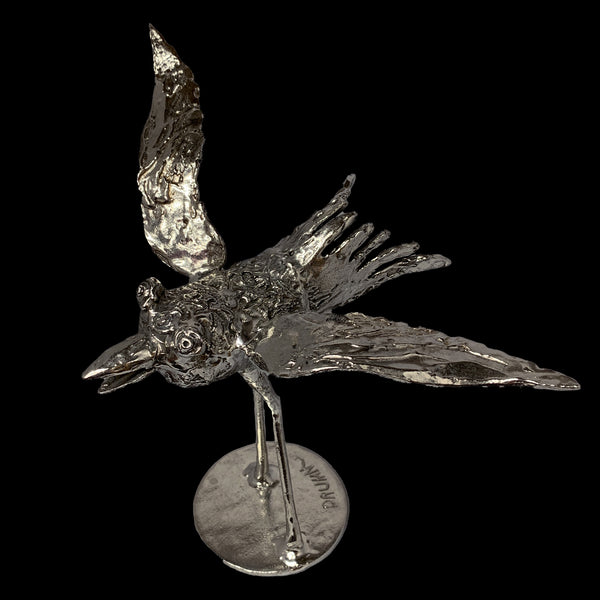 One of a Kind Pewter Bird Sculpture