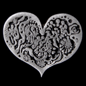 Don Drumm Flower Flat Heart Pin