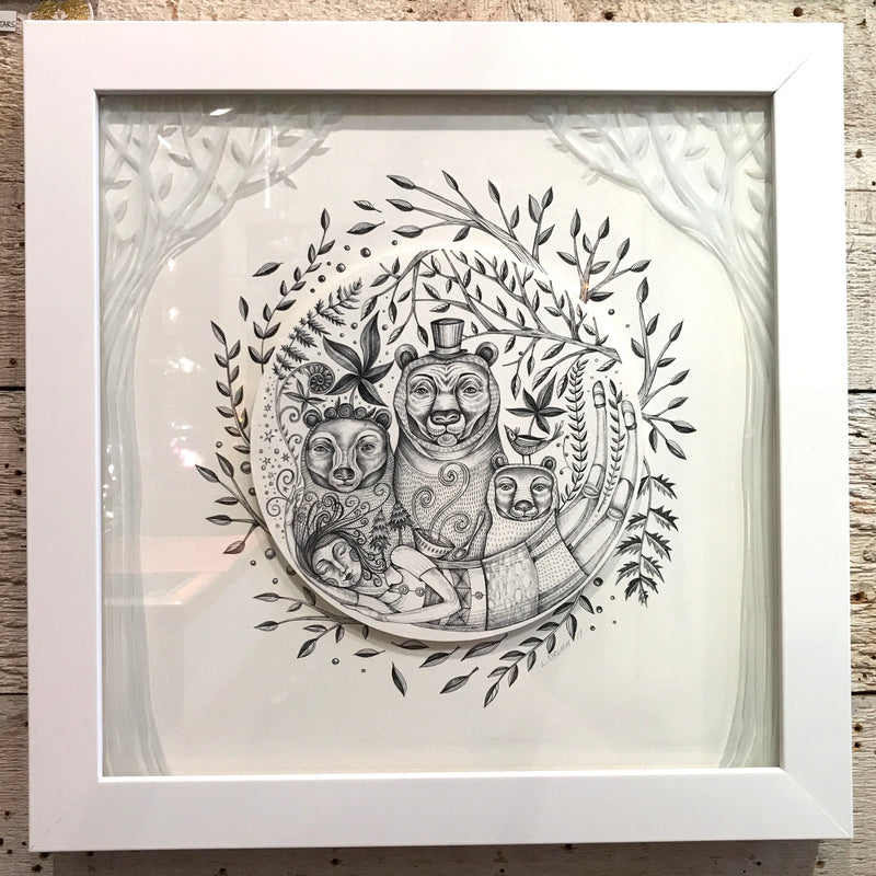 "NEW Leandra Drumm Framed Print ""Goldilocks and The Three Bears"""