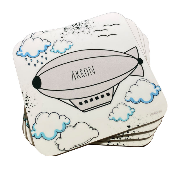 "Elisa Drumm Designs ""Akron"" Blimp Coasters Set"