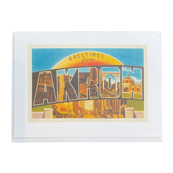 "Found Image Press ""Greetings from Akron"" Sunrise Card"