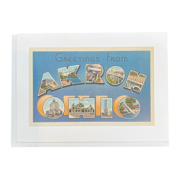 "Found Image Press ""Greetings from Akron"" on Blue Card"