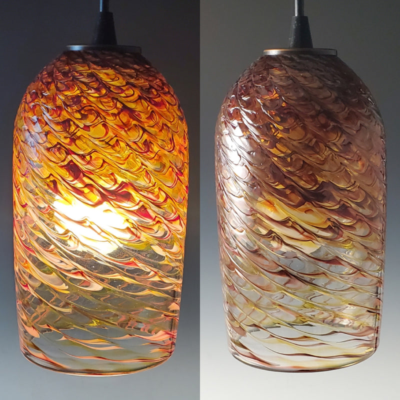 Rosetree Glass Studio Cylinder Clear Optic Pendant Lamp