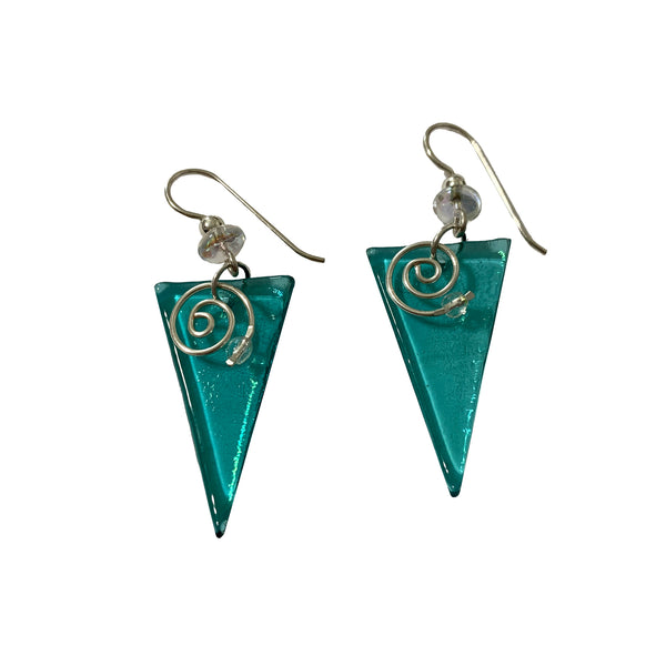 Deveer Designs Glass Triangle with Swirl & Faceted Bead