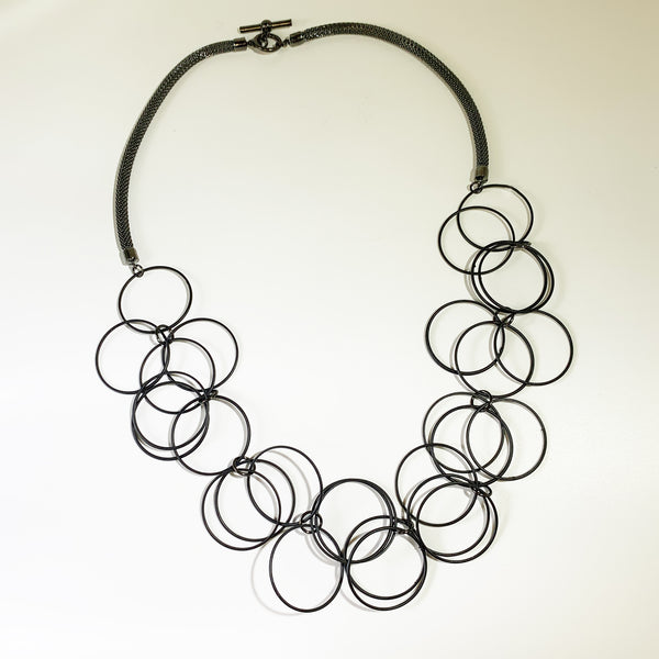 Erica Zap Mesh Necklace with Large Black Linked Rings