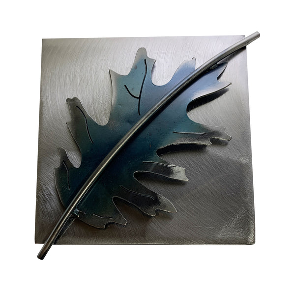 Metallic Evolution Red Oak Leaf Art Tile Wallhanging