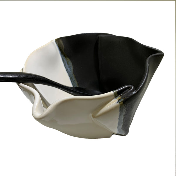 Hilborn Pottery Design Multipurpose Dish with Black & White Glaze