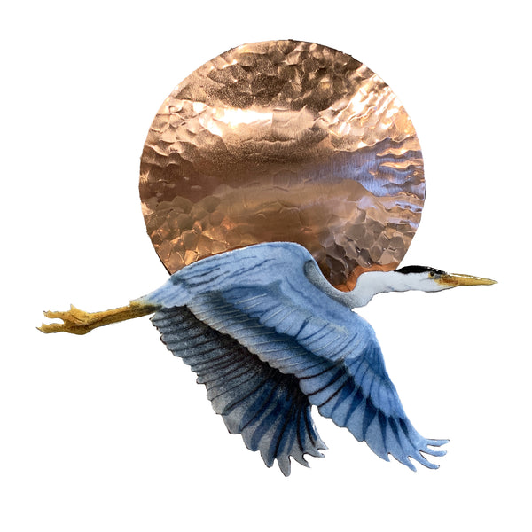 Bovano of Cheshire Flying Blue Heron with Copper Sun