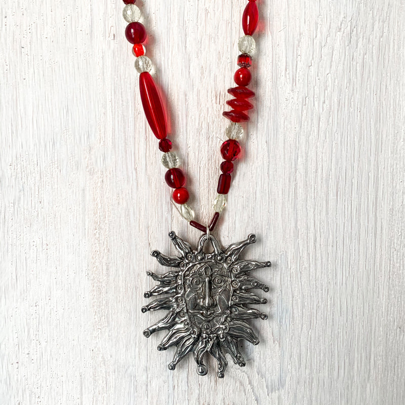 NEW! One of a Kind Red Glass Beaded Necklace