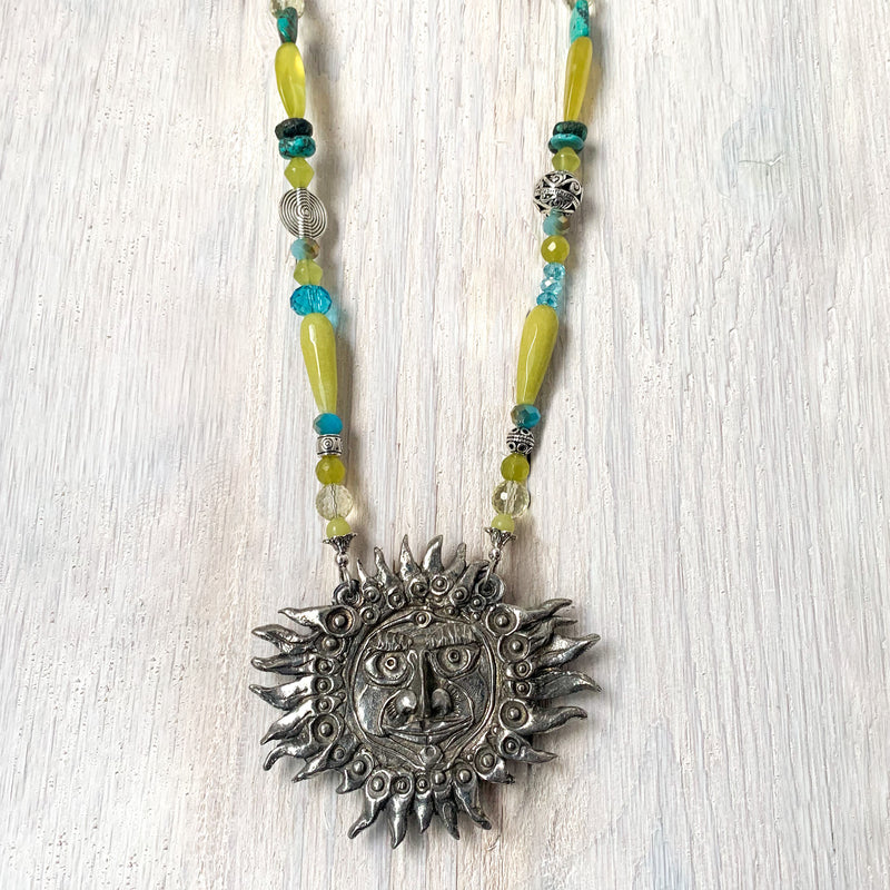 NEW! Don Drumm One of a Kind Lemon Jade & African Turquoise Beaded Necklace