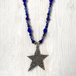 NEW! One of a Kind Cobalt Blue Beaded Necklace