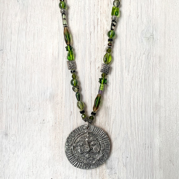 NEW! One of a Kind Glass and Metal Beaded Necklace