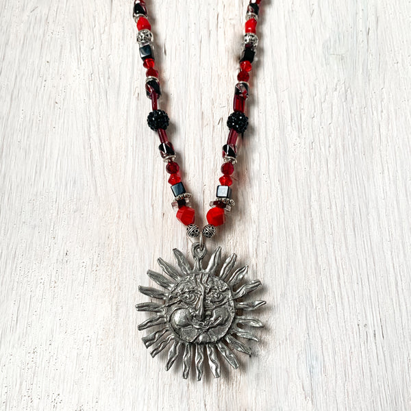 NEW! One of a Kind Red Coral & Black Onyx Beaded Necklace