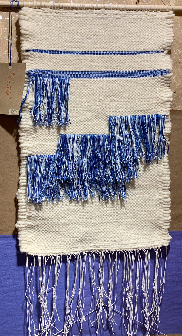 Kathryn Shinko Weaving #8 - Cream & Variegated Blues
