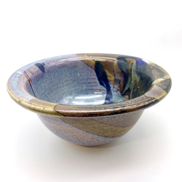Bruce Larrabee Bowl with Lip, Blue & Tan