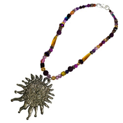 NEW! One of a Kind Lava Rock & Glass Beaded Sun Necklace