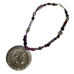 NEW! One of a Kind Amethyst & Mixed Beaded Sun Necklace