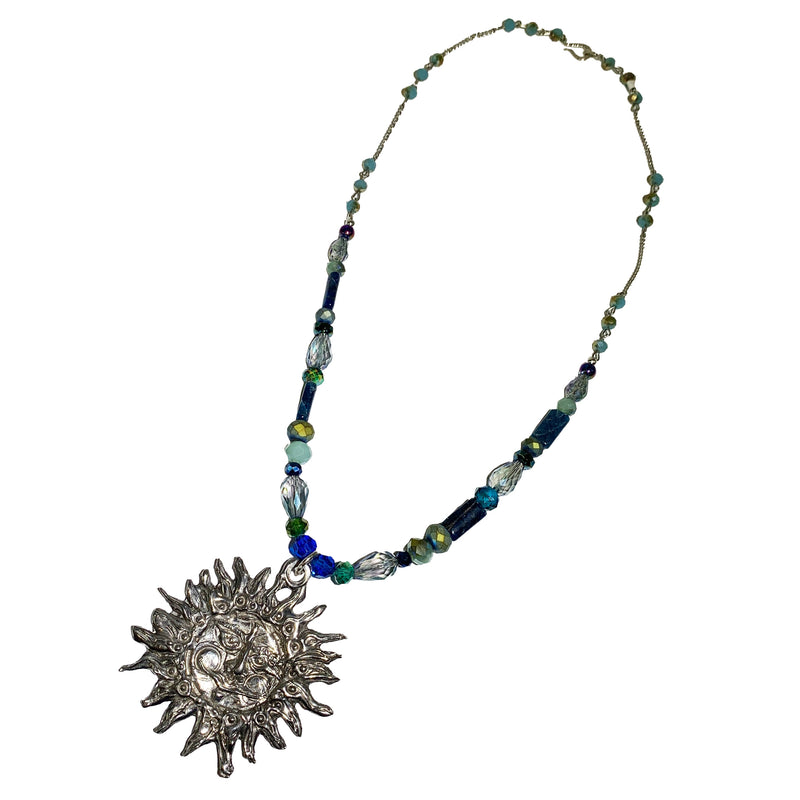 NEW! One of a Kind Apatite & Glass Beaded Sun Necklace