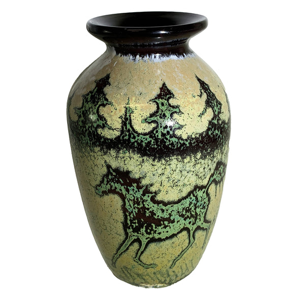 Paul Bendzunas Small Animal Print Black Horse Vase