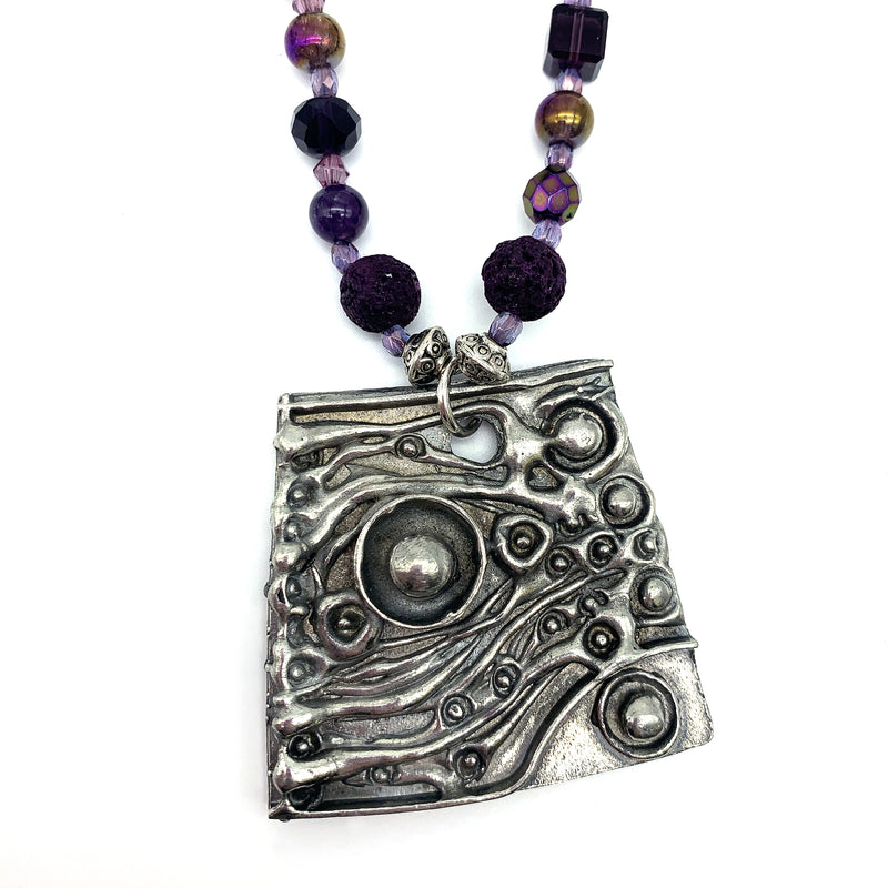 NEW! One of a Kind Purple Beaded Abstract Necklace