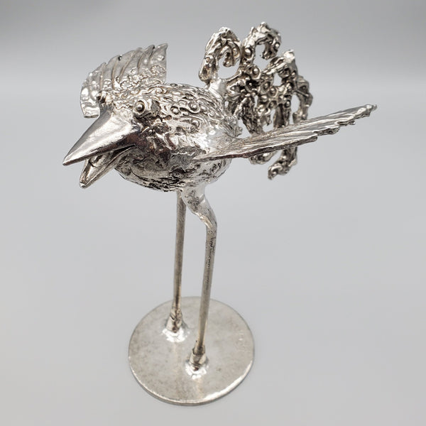 NEW! One of a Kind Pewter Tall Bird Sculpture