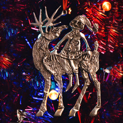 Pewter Santa Sitting on a Reindeer, Pewter Ornament by Don Drumm