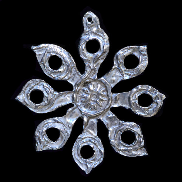 "NEW! Don Drumm Pewter Snowflake Ornament ""D"""