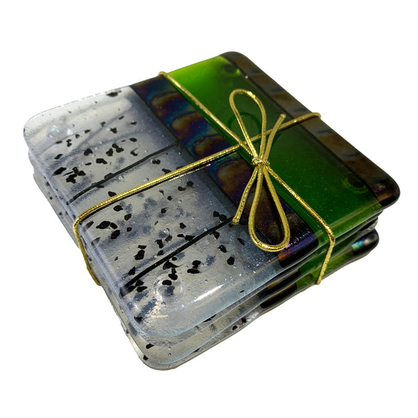 "Chris Paulson ""Elegant"" Fused Glass Coaster Set"