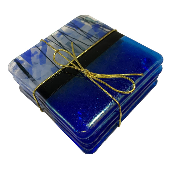 "Chris Paulson ""Streamers"" Fused Glass Coaster Set"