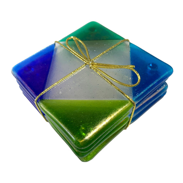 "Chris Paulson ""Corners"" Fused Glass Coaster Set"