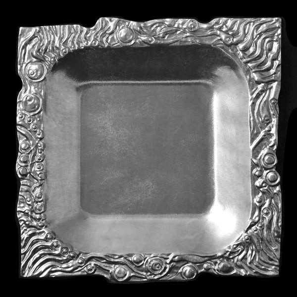 Don Drumm Aluminum Square Platter, Abstract Edge