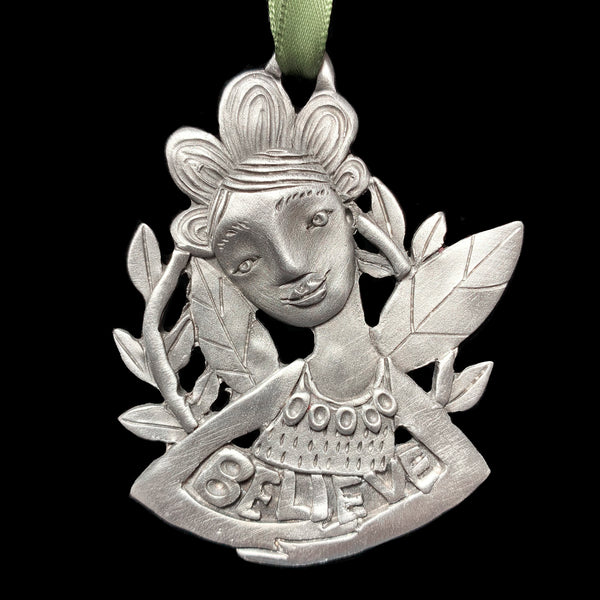 "NEW Leandra Drumm ""Believe Fairy"" Pewter Ornament"