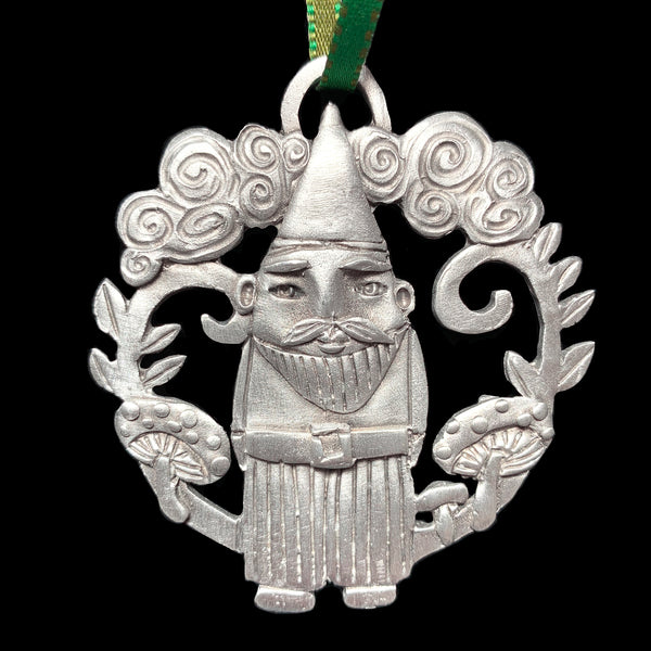 "NEW Leandra Drumm ""Christmas Gnome"" Pewter Ornament"