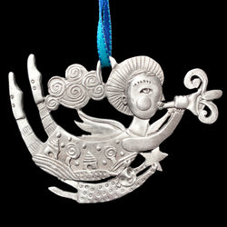 "NEW Leandra Drumm ""Trumpeter & Child"" Pewter Ornament"